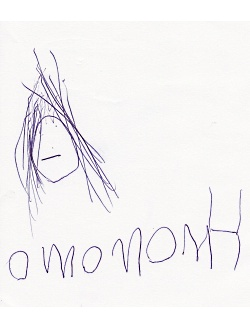 Esmé writes the word mommy.