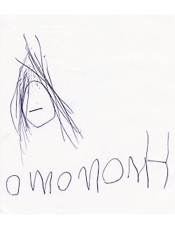 Esmé writes the word mommy.