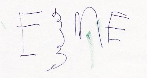 Esmé writes her name.